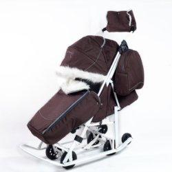 Санки-коляски Pikate Снеговик «Шоколад» (дизайн со стразами, овчина, 3 положения спинки, краска рамы белый)