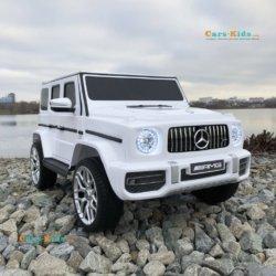 Электромобиль Mercedes-Benz G63 T999TT белый (кресло кожа, колеса резина, пульт, музыка)